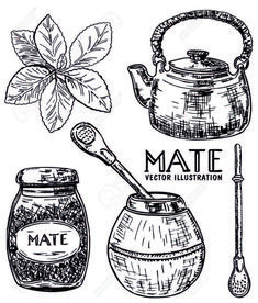 Yerba Mate, Cafe Design, Logo Design, Love Mate, Folklore, Doodles, Sketches, Stickers, Drawings