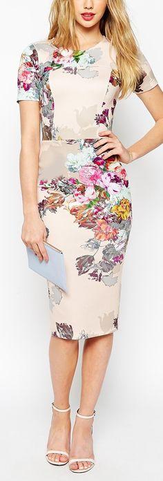 ivory floral pencil dress