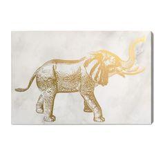 """Elephant"" Gold Foil Graphic Art on Canvas"