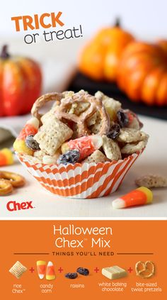 This Homemade Halloween Chex Mix is a perfect fall party treat. White chocolate coats Chex candy corn raisins and pretzels together for a sweet snack kids and adults will love! Fall Treats, Party Treats, Holiday Treats, Fall Snacks, Thanksgiving Treats, Halloween Goodies, Halloween Food For Party, Halloween Treats, Halloween Birthday