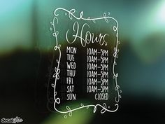 FREE SHIPPING Pretty Hours Window Decal  Custom Size and