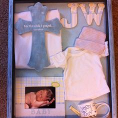 Baby Shadow box with hand-painted cross and frame.