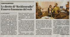 """Sul Mattino di Padova di ieri un bellissimo articolo che parla di Reckless Radio ... La giovane e libera radio con la quale collaboro anch'io grazie alla rubrica di cucina """"Spuntino di Mezzanotte!"""""""