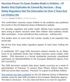 Embedded image permalink https://childhealthsafety.wordpress.com/2015/01/13/vaccines-proven-to-cause-sudden-death-in-children-67-deaths-only-explicable-as-caused-by-vaccines-drug-safety-regulators-had-the-information-for-over-2-years-and-let-children-die/ …