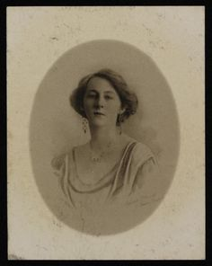Gilbert Evan's photograph of Florence Carter-Wood', date unknown.Also discovered with this photograph of her were two blue jay's feathers carefully wrapped in brown paper .