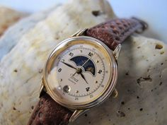 Timex Calendar Watch Moon Phase Watch Sun Phase by VintageWatchGal, $79.00