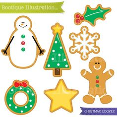 Christmas Cookies Clipart Set. Xmas Cookies Digital Clipart for Instant Download. Personal and Commercial* Use. Png, Jpeg, Eps Included #design #cardmaking