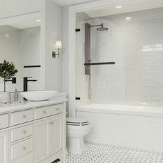Wonderful Useful Ideas: Tile Shower Remodel Diy small shower remodel with window.Shower Remodel Cost small shower remodeling with bench. Bathtub Shower Combo, Bathroom Tub Shower, Hall Bathroom, Upstairs Bathrooms, White Bathrooms, Bathroom Interior, Master Bathrooms, Shower Tiles, Luxury Bathrooms