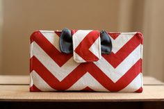 Red Chevron Wallet-Great for a cash budget system @theruffledstitch
