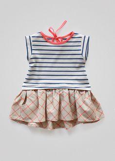 Girls summer dress with high low hem PDF sewing pattern & tutorial Sewing Patterns For Kids, Sewing For Kids, Sewing Ideas, Sewing Tips, Sewing Projects, Tunic Pattern, Linen Skirt, Bias Tape, Kind Mode