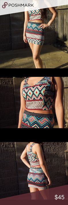 Aztec Print Co-ord Skirt Set Amazing skirt set! This would be great for concerts or those awesome summer adventures. Super stretchy and comfy. You'll definite turn some heads in this amazing two piece. [I'm a 34C/26inch waist and 5'3] •No Trades• Boutique Skirts Skirt Sets