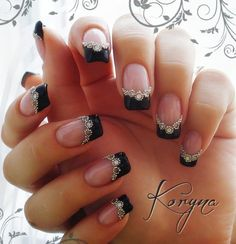New Years Eve Manicures are presented in all their sparkly nail treatment glory. From little black dress manicure to many metallics Women over 45 will love! New Year's Nails, Love Nails, Hair And Nails, Sexy Nails, Crazy Nails, Black Nails, White Nails, French Nails, Gorgeous Nails