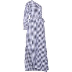 Rosetta Getty One-shoulder gingham cotton wrap gown (19.371.750 IDR) ❤ liked on Polyvore featuring dresses, gowns, print dresses, asymmetrical gown, one shoulder evening gowns, cotton wrap dress and asymmetrical wrap dress