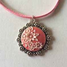 Sparkly Pink And White Floral Polymer Applique Clay Pendant £5.99