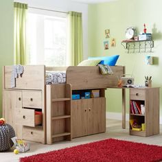Wood effect cabin bed with storage