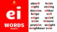 English Phonics - Improve your spoken English - daily use English words - English word speaking practice - English sentence speaking practice - ei words - ei sound - ei phonics - ei sound words - everyday ei words - ei phonics sound - phonics - ei vowel sound words - long vowel sound ei - long ei words - vowel digraph ei - long vowel ear - ei words examples - ei blending - blending phonics - ei consonant digraph - English language phonics English Phonics, English Teachers, Reign, Calm, Words, Royalty, Horse
