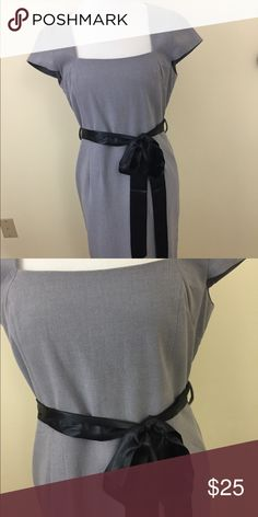 Venus Gray dress with Bow Sash size 8 So pretty with a sweetheart neckline and gorgeous silky black Sash. Size 8 worn once it's like new. VENUS Dresses Midi