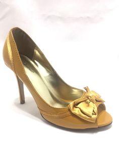 3068c73ab Delicious D Orsay Peep Toe Bow Yellow Stiletto Heel Shoe Size 7  Delicious