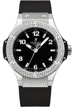 Hublot Big Bang Black Dial Diamond Black Rubber Ladies Watch 361.SX.1270.RX.1104