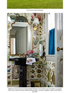 House beautiful October 2017 Janet Gridley cabinet of natural curiosities powder room Powder Room Wallpaper, Bathroom Wallpaper, Of Wallpaper, Amazing Wallpaper, Powder Room Design, Up House, Beautiful Bathrooms, White Bathrooms, Beach Bathrooms