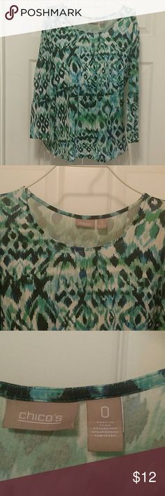 CHICOS Aqua SUMMER cruise vacation shirt Size 0 Excellent condition. No flaws noted.  Rayon/spandex machine wash. Tag Size 0.  From a SMOKE FREE HOME. Chico's Tops