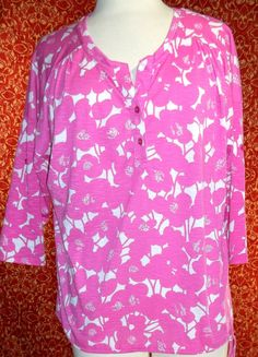 NWT NEW YORK & COMPANY pink polyester 3/4 sleeve tunic blouse L (T10-03A6G) #NewYorkCompany #Blouse #Casual