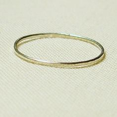 Thread of Silver - Tiny Halo Hammered Stack Ring - Delicate Jewelry