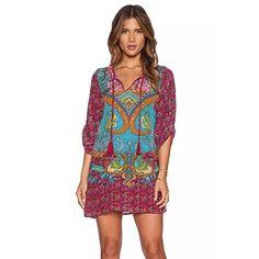 Damen Kleid Yesmile Frauen Damen Vintage Bohemian Strandtunika Sommerkleid  Tunikakleid Bluse Strandkleid Minikleid Kleider e577e24184