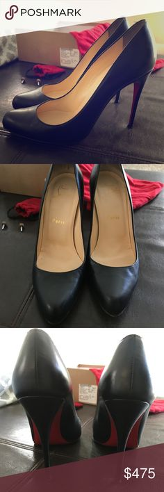 Authentic Christian Louboutin Size 37.5 Black Christian Louboutin heels in good condition. Size 37.5. Normal wear and tear with a small scratch on one side. Soles have wear on the bottom that is not visible when worn. You'll receive the replaceable caps as well if you want to switch them out. Only reason I'm getting rid of them is because my foot grew after my pregnancy and they're too small. Only reasonable offers will be considered. Christian Louboutin Shoes Heels
