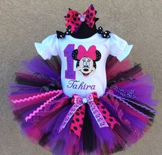 Black Berry Berry Minnie Mouse Birthday Tutu Outfit-Set