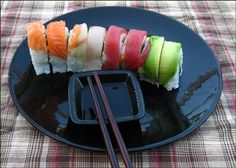 Rainbow Sushi Recipe | Rainbow sushi is the name given to different sushi rolls with the common feature of having four different colored toppings on the roll. The rainbow roll is very aesthetic, and a good sushi bar choice for those who wish to try out different flavors on the same dish.