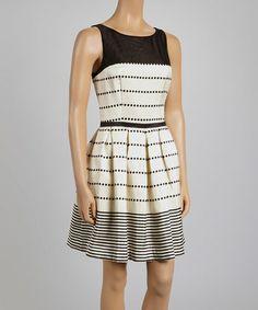Look at this #zulilyfind! Black Stripe A-Line Dress by Taylor Dress #zulilyfinds