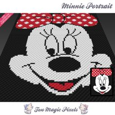Minnie Portrait crochet blanket pattern; c2c, knitting, cross stitch graph; pdf download; no written counts or row-by-row instructions by TwoMagicPixels, $2.84 USD