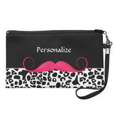 Trendy Mustache Pink And Black Leopard Wristlets $49.95 #ohsogirly #fashionaccessories #giftsforher