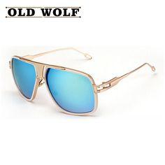 66e2caeb52 US $10.39 |Aliexpress.com : Buy 2016 Brand Designer New Fashion Men  Sunglasses Women Vintage Retro Metal Oversize Square Sun Glasses Oculos Gafas  De Sol ...