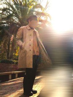 BURBERRYのコートと今日届いたKANGOLのハンチングキャップがめちゃめちゃあってオシャレで好