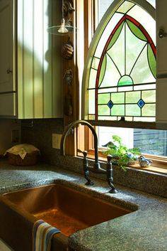 Stained glass window in kitchen of converted church (mls #4178124, formerly mls #4037599)