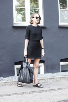 Trini | The Kooples black dress - Birkenstock Arizona sandals - Céline cabas bag
