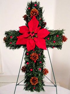 Christmas Gravesite Memorial Cross , Cemetery Flowers , Christmas Flowers…