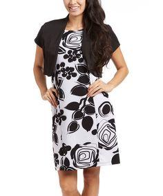 Look what I found on #zulily! Black & White Floral Sheath Dress & Shrug #zulilyfinds