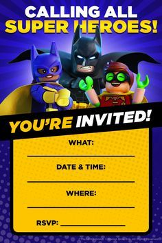 Free printable lego batman birthday invitation lego batman super the next kids birthday party will be amazing and awesome thanks to these invitations dont invite anyone lame though stopboris Image collections