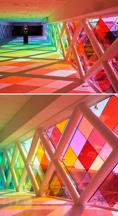 Rainbow #Connection. Designed by sound artist Christopher Janney, Harmonic Convergence is a layering of light, color and sound connecting the Miami airport to a new rental car terminal. What an invigorating way to wake up after a long flight!