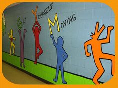 Keith Haring inspired mural for an elementary school gym