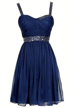 Exquisite A-line Straps Knee Length Chiffon Homecoming Dress with Sequins