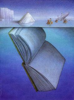 #Books / illustration by Paweł Kuczyński