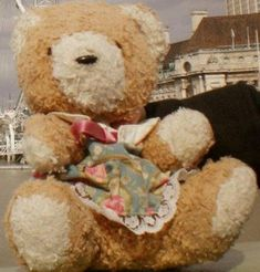 I'm looking for a seated light brown bear with a green, flower-patterned dress. Little Brown, Green Print, Lost & Found, Brown Bear, Pet Toys, December 7, Floral, Teddy Bears, Stuffed Animals