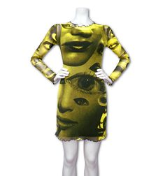 97% Nylon 3% spandex stretch mesh long sleeve dress hand screen printed with Faces Surreal Eye collage print all over front back & sleeves. All the