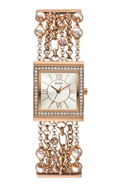 women's watches: Gold watches women GUESS Women's U0140L3 Pearl Embellished Rose Gold-Tone Bracelet Watch