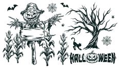 Monochrome Scarecrow with Corn vector illustration. Halloween designs are available for personal and commercial use on www.dgimstudio.com.