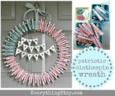 Patriotic Clothespin Wreath Tutorial. #flag #4thofJuly #doordecor